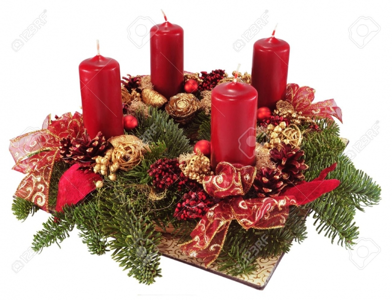 11452795-Advent-wreath-with-red-candles-isolated-on-white--Stock-Photo